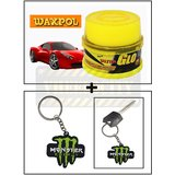 Vheelocity Waxpol Ultra Glo Polish With Uv Guard 100Gms + Rubber Monster 'M' Keychain/Keyring For Bike/Car