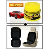 Vheelocity Waxpol Ultra Glo Polish With Uv Guard 100Gms + Car Wooden Bead Seat Cushion With Black Velvet Border