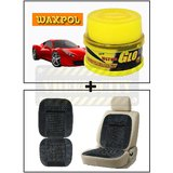 Vheelocity Waxpol Ultra Glo Polish With Uv Guard 100Gms + Car Wooden Bead Seat Cushion With Grey Velvet Border