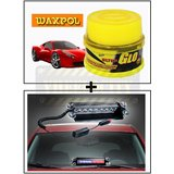 Vheelocity Waxpol Ultra Glo Polish With Uv Guard 100Gms + 8 Leds Wind Shield Sucker Strobe Warning Flash Red / Blue Light- Police Light 4W