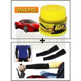 Vheelocity Waxpol Ultra Glo Polish With Uv Guard 100Gms + Stylish Biking / Sports Arm Sleeves Black - 1 Pair (2 Pcs.)