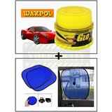 Vheelocity Waxpol Ultra Glo Polish With Uv Guard 100Gms + Car Side Window Sunshades Stick On Sun Shade - Set Of 2 Pcs (Blue)