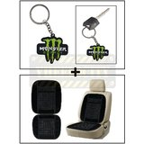 Vheelocity Rubber Monster 'M' Keychain/Keyring For Bike/Car + Car Wooden Bead Seat Cushion With Black Velvet Border