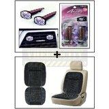 Vheelocity Aromate Aroma Clip Unique Car Perfume + Car Wooden Bead Seat Cushion With Grey Velvet Border