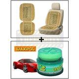 Vheelocity Car Wooden Bead Seat Cushion With Beige Velvet Border + Waxpol 2 In 1 Cleaner Cum Polish 100G