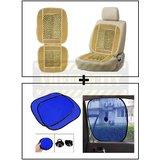 Vheelocity Car Wooden Bead Seat Cushion With Beige Velvet Border + Car Side Window Sunshades Stick On Sun Shade - Set Of 2 Pcs (Blue)