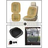 Vheelocity Car Wooden Bead Seat Cushion With Beige Velvet Border + Car Side Window Sunshades Stick On Sun Shade - Set Of 2 Pcs (Black)
