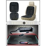 Vheelocity Car Wooden Bead Seat Cushion With Grey Velvet Border + 8 Leds Wind Shield Sucker Strobe Warning Flash Red / Blue Light- Police Light 4W
