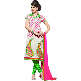 Hypnotex Off White Chanderi Cotton Dress Material