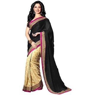 sareeka sarees beige and black satin saree with blouse piece