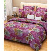 Combo Pack Of 100% Cotton Double Bed Sheet 2 Pillow Covers & 2 Door Mat-hc03