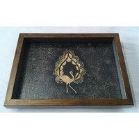 Serving Tray With Warli Peacock Painting