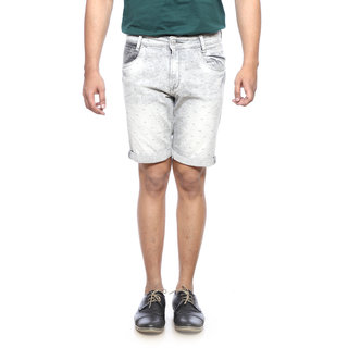 Mufti Mens Grey Slim Fit Mid Rise Shorts