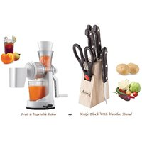 Amiraj Combo Of Juicer & Knife Block Set - 01