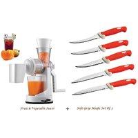 Amiraj Combo Of Juicer & Soft Grip Knife Set Of 5 - 02