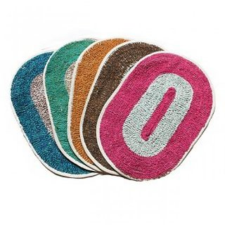 Oval shaped Solid Bath / Door mat - 30 x 40 cms - Pack of 3 - Multicolor