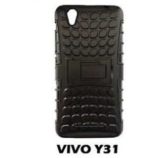 VIVO Y31 Defender (Black) Back Cover Defender Tough Hybrid Armour Shockproof Hard with Kick Stand DEFENDER