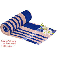 Exclusive Design Velvet Bath Towel-BLUE & CREAM