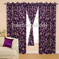 Sweet Home Leaf Design Eyelet Door Curtains Bb 07(set Of 2pieces)