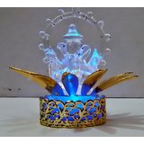 Glass Ganeshji With Light Emitting Base