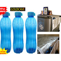 COMBO Of 3 Goldcave Water Bottle (1.2 Ltr) + 1 Silver Fridge Cover