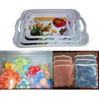 COMBO Of Serving Tray Set Of 3 + Multipurpose Fridge Storage Zipper Bags 6 Pcs