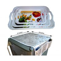 COMBO Of Serving Tray Set Of 3  +  Silver Color Fridge Cover
