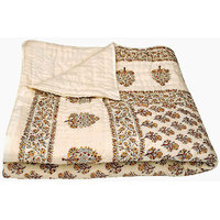 Buy Clues Jaipuri Hand Made Block Print Cream Singal Bed Quilts
