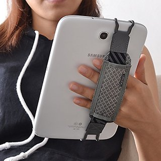 TFY Tablet Security Hand Strap Holder for iPad (iPad Mini & Mini 2 & Mini 3 / iPad Air / iPad Air 2 / iPad Pro 9.7 ) - Samsung Tablets - Nexus 7 / Nexus 10 and More Grey