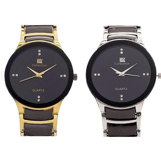 Men SliverBlack  BlackGolden Watches COmbo of  2 By Sanghohub