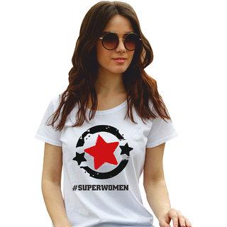 Superwomen White Graphic Print Round Neck Tshirts For Women