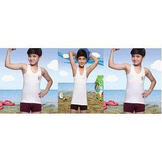 Lux Kids Sleeveless Sports Cotton Vest - Set Of 3