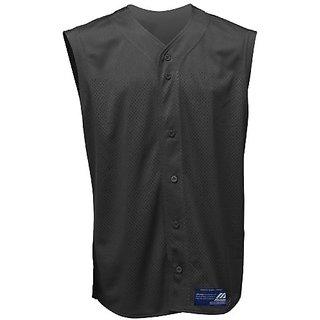 Mizuno Boy's Full Button Mesh Sleeveless Baseball Jersey, Black, Small