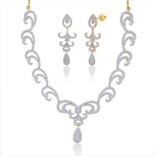 "Peora 18 Karat Gold Plated Cubic Zirconia ""Sarina"" Necklace Earrings Set"