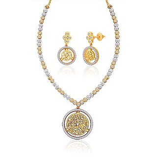 "Peora 18 Karat Gold Plated Cubic Zirconia ""Cheryl"" Necklace Earrings Set"