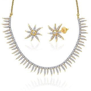 "Peora 18 Karat Gold Plated Cubic Zirconia ""Ivy"" Necklace Earrings Set"