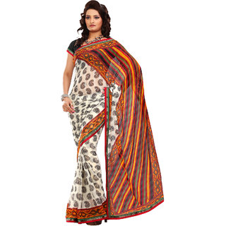 Fabdeal Party Wear Maroon & Black Colored Chiffon Saree