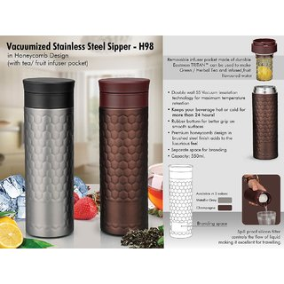 Vacuumized Tea/Fruit infuser SS Sipper in Honeycomb design (550ml)