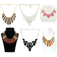 Minha fashion metallic jewellery necklace-Combo of 6