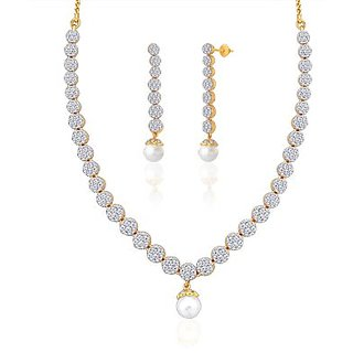 "Peora 18 Karat Gold Plated Cubic Zirconia And Pearl ""Irene"" Necklace Earrings Set"