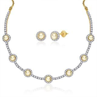 "Peora 18 Karat Gold Plated Cubic Zirconia And Pearl ""Tanya"" Necklace Earrings Set"