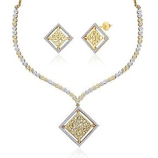 "Peora 18 Karat Gold Plated Cubic Zirconia ""Arshia"" Necklace Earrings Set"