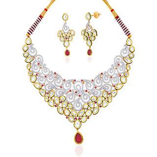 "Peora 18 Karat Gold Plated Kundan ""Aashiaana"" Necklace Earrings Set"