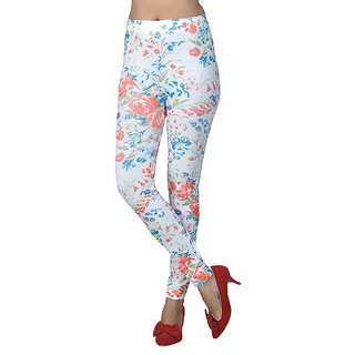 Kirti's White Floral Printed Cotton Leggings