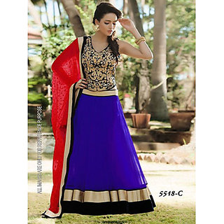 Indian Beauty Blue Net Lehenga Choli