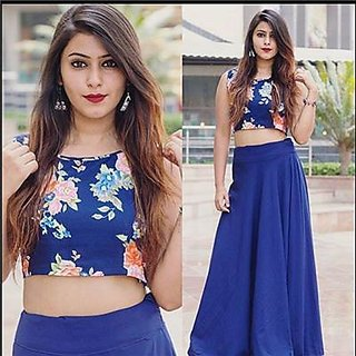 Indian Beauty Blue Silk Lehenga