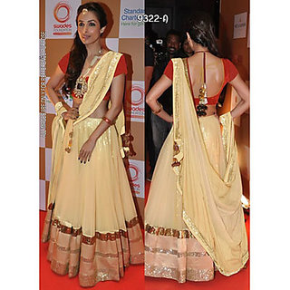 Indian Beauty Cream Net Lehenga Choli