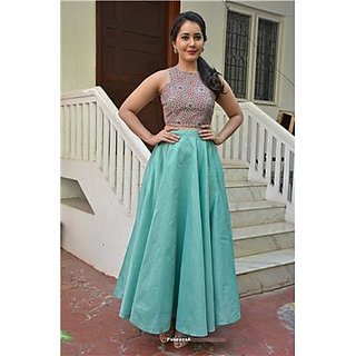 Indian Beauty Designer Blue Lehenga with Unstitched Embroidery Top
