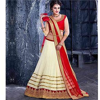 Indian Beauty Cream Georgette Semi Stitched Lehenga Choli