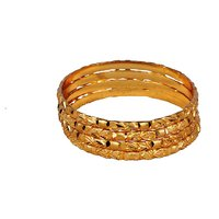 Dwellkart Party Wear 4 PC Golden Bangle JBA01458